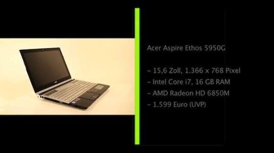 Das leistungstarke Multimedia-Notebook Aspire Ethos 5950G von Acer verfügt über einen Core i7-Prozessor von Intel, eine Radeon-Grafikkarte von AMD, 16 Gigabyte Arbeitsspeicher und ein Blu-ray-Laufwerk.