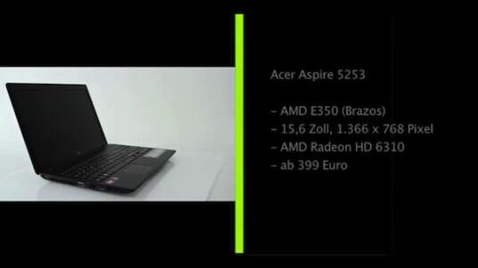 Bei dem Acer Aspire 5253 handelt es sich um ein günstiges Notebook mit AMDs neuer Brazos-Plattform. Sie vereint Prozessor und Grafikkarte, kostet vergleichsweise wenig und liefert für weit verbreitete Anwendungen genügend Leistung.