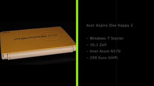 Das Acer Aspire One Happy 2 verfügt über eine für Netbooks typische Hardware-Ausstattung. Von anderen kleinen Notebooks hebt es sich durch seine vier zur Auswahl stehenden Gehäusefarben ab.