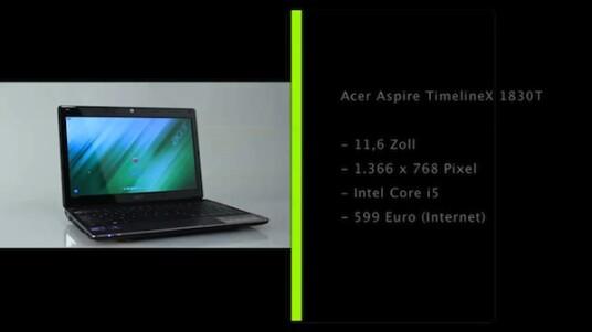 Das Subnotebook Aspire TimelineX 1830T von Acer bietet fast bei allen Bauteilen mehr als ein Netbook. Größerer Bildschirm, schnellerer Prozessor, mehr Arbeitsspeicher, aber nicht unbedingt eine leistungsfähigere Grafik.