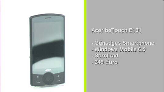 Das günstige Smartphone von Acer setzt auf das Betriebssystem Windows Mobile 6.5. Neben der Bedienung über das berührungsempfindliche Display navigiert der Nutzer alternativ per Scrollrad durch die Menüs. Mit 249 Euro ist das Smartphone günstiger als seine Windows Mobile Konkurrenten.