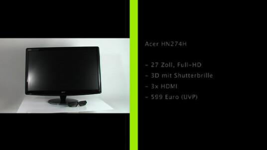 Zielgruppe Gamer: Der Acer HN274H zaubert mit Hilfe der 3D-Vision-Technologie räumliche Bilder auf seine 27 Zoll große Full-HD-Anzeige.