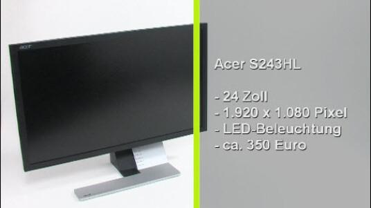 Der S243HL von Acer besticht durch geringen Stromverbrauch und ungewöhnliches, aber funktionales Design. Nicht zuletzt wegen des 16:9-Formats eignet sich der Monitor hervorragend für die Wiedergabe von Filmen. Die unverbindliche Preisempfehlung des Herstellers liegt bei 379 Euro, im Internet ist der LED Monitor günstiger erhältlich.
