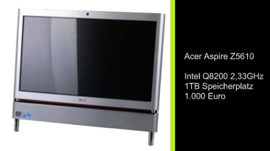 Mit dem Aspire Z5610 bietet Acer erstmals einen All-In_One PC für unter 1000 Euro an. Im Herzen des Computers arbeitet ein Intel Q8200 mit 2,33 Gigahertz. Außerdem verfügt der Acer Aspire über eine ein Terrabyte Festplatte.