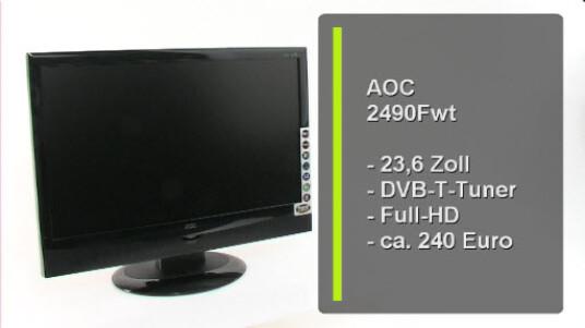 Zwei Geräte in Einem: Der Multifunktionsmonitor 2490Fwt von AOC vereint PC-Bildschirm udn Fernseher in einem Gehäuse. Mit der Fernbedienung wechselt der Nutzer zwischen den Betriebsarten und kann dank der zahlreichen Anschlüsse viele Bildquellen auswählen.