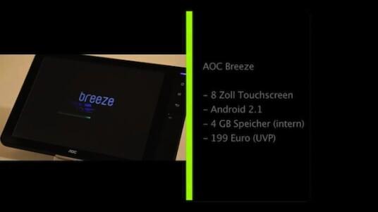Der acht Zoll große Bildschirm des AOC Breeze verfügt über ein ungewöhnliches Seitenverhältnis von 4:3. Das Tablet kostet weniger als 200 Euro und gehört in dieser Preisklasse - trotz aller Einsparungen - zu den Top-Modellen.