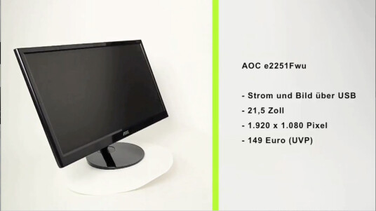 Beim e2251Fwu von AOC handelt es sich um ein schnell und einfach anzuschließendes USB-Zweit-Display für Notebooks.