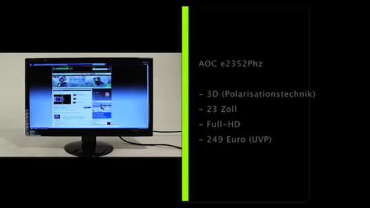 Die Polarisationstechnik wie sie im AOC e2352Phz steckt macht 3D-Bildschirme und die zugehören Spezialbrillen günstiger und bietet mehreren Betrachtern eine räumliche Ansicht.