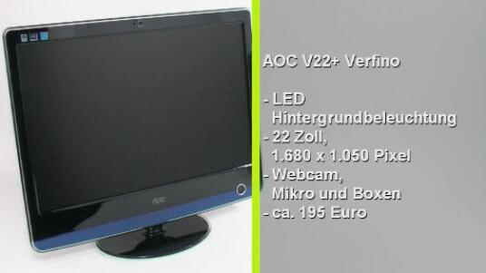 Mit dem V22+ Verfino bietet das taiwanische Unternehmen AOC einen sehr flachen PC-Monitor mit LED-Hintergrundbeleuchtung an. Neben dem geringen Stromverbrauch gefällt der Bildschirm durch einfache Bedienung und Extras wie Mikrofon und Webcam.