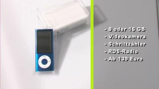 Auch der neue Apple iPod Nano 5G überzeugt wie gewohnt durch eine gute Qualität. Diesmal stattet Apple den MP3-Player zusätzlich mit einer Videokamera, UKW-Radio, Mikrofon, Lautsprecher und Schrittzähler aus.