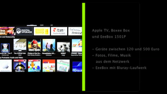 Apple TV, Boxee Box und EeeBox 1501P