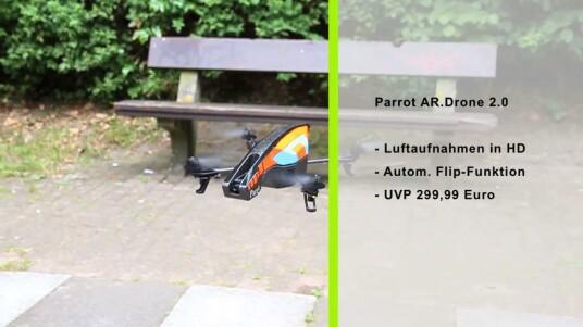Mit der AR.Drone 2.0 von Parrot können Nutzer nicht nur HD-Videoaufnahmen aus der Luft tätigen, sondern auch wagemutige Flugmanöver hinlegen. Im Test zeigte sich, dass der Quadrocopter äußerst stabil in der Luft liegt und auch Anfänger schnell zu Helden der Lüfte macht.