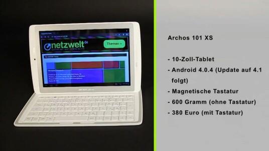 Beim Archos 101 XS gehen Tastatur und Tablet eine magnetische Einheit ein. Die Tastatur gehört bereits zum Lieferumfang des rund 380 Euro teuren Archos. Leider zeigt das an sich lobenswerte Konzept in der Praxis einige Tücken.