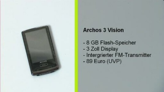 Dank eines eingebauten FM-Transmitters spielt der Archos 3 Vision nicht nur MP3´s. Auch Videos kann der Nutzer über ein drei Zoll großes Display genießen.