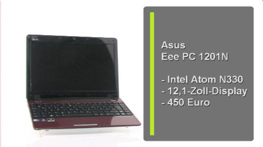 Das neue EeePC 1201 kommt mit ordentlich Rechenleistung daher. Verbaut ist ein Intel Atom 330 mit zwei Gigabyte RAM und eine 250 Gigabyte Festplatte. In schickem Rot weiß das gut verarbeitete Netbook zu überzeugen.