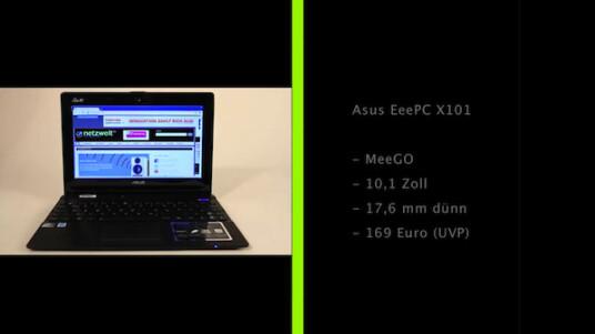 Asus installiert auf dem EeePC X101 die Linux-Variante MeeGo. Das Netbook überzeugt darüber hinaus als dünnes Leichtgewicht, kassiert aber Abzüge für die langsame Hardware.