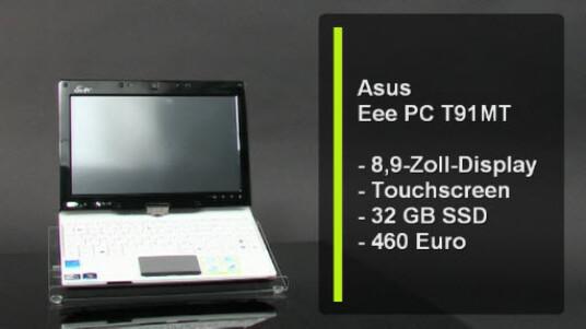 Das optisch ansprechende NEtbook von Asus kann dank eines Drehbaren und berührungsempfindlichen Bildschirms auch als Tablet PC genutzt werden. Allerdings ist das T91 MT etwas leistungsschwach.