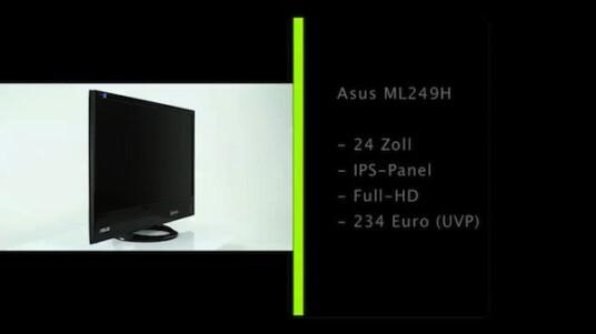 Schmaler, 24 Zoll großer Bildschirm mit IPS-Panel und LED-Hintergrundbeleuchtung. Bildsignale nimmt der Monitor per HDMI oder VGA entgegen.
