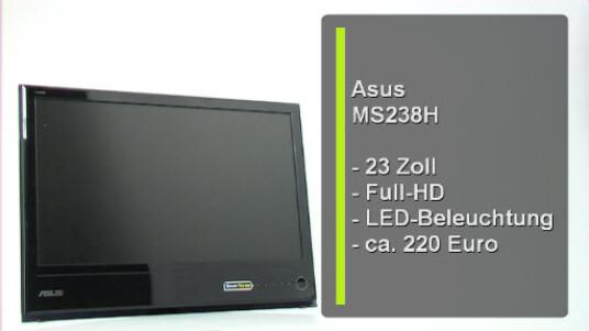 Der erste Monitor mit LED Hintergrundbeleuchtung von Asus. Der MS238H ist ein Design-Dispaly mit einer sehr guten Farbwiedergabe und gut Verarbeitung.