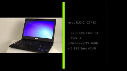 Schneller Prozessor, leistungsfähige 3D-Grafikkarte und ein großer Bildschirm mit hoher Auflösung. Das Asus R.O.G. G74SX erfüllt die Anforderungen an ein Gaming-Notebook.