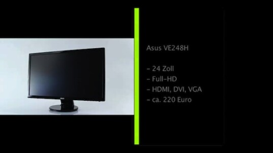 Asus stattet seinen 24 Zoll großen Bildschirm VE248H mit einer LED-Hintergrundbeleuchtung sowie je einem VGA-, DVI- und HDMI-Anschluss aus.