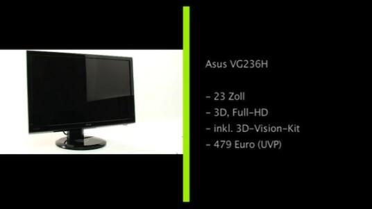 Der Asus VG236HH macht nicht nur bei 3D-Spielen eine gute Figur. Der Bildschirm mit einer Bildwiederholrate von 120 Hertz sorgt zusammen mit einer Shutterbrille für räumliche Ansichten, liefert aber auch im 2D-Betrieb eine gute Bildqualität. Ausstattung und Bedienung geben ebenfalls keinen Anlass zur Kritik.
