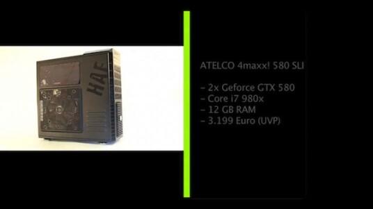 Da schlagen Gamer-Herzen höher. Mehr Leistung als in den 4maxx! 580 SLI von Atelco lässt sich derzeit nicht in einen PC einbauen. Der Preis fällt zwar hoch aus, aber noch nicht utopisch.