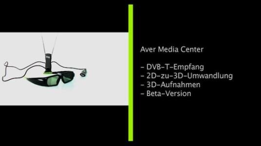 Sportschau, Heute Journal oder GZSZ: Das Aver Media Center wandelt in seiner neusten Version zweidimensionale Sendungen in 3D-Programme um. Neben einem DVB-T-Stick benötigt der Nutzer auch eine Shutterbrille.
