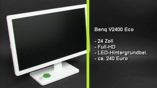 Der Öko Monitor von Benq spart dank Leuchtdioden die für die Hintergrundbeleuchtung verantwortlich sind, eine menge Strom. Der V2400 Eco kommt in einen schicken weißen Gehäuse daher und bietet in seinem Standfuß platzt für ein kleines Zimmerpflänzchen.