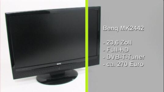 Benq bietet mit dem MK2442 einen Multifunktionsmonitor mit DVB-T-Tuner an. Ein Druck auf die Fernbedienung genügt, um vom PC- in den TV-Betrieb zu wechseln.