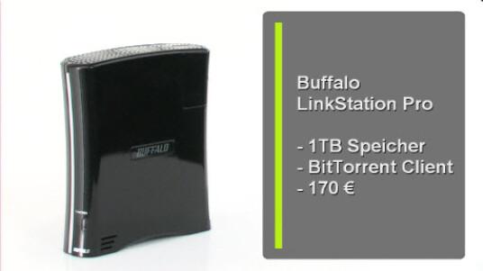 Mit der LinkStation Pro möchte Buffalo einen Medien-Server für zuhaus anbieten, der über einen Terabyte Speicher und die Unterstützung von BitTorrent verfügt. Ab einem Preis von 170 Euro bekommen Sie das Gerät mit einigen Mängeln aber einer ordentlichen Ausstattung.
