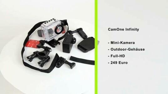 Die kleine Outdoor-Kamera CamOne Infinity verfügt über ein wasserdichtes Gehäuse und erleichtert ihre Verwendung durch einen 1,5 Zoll großen Bildschirm.