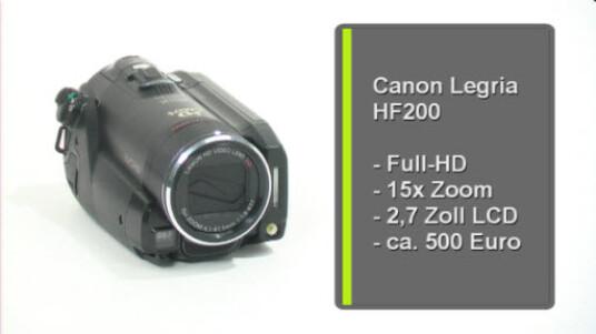 Canons Full-HD-Camcorder Legria HF200, stellt dem Nutzer einen 15-fachen Zoom zur Verfügung. Videos speichert der Camcorder auf SD-Karten ab. Der Legria überzeugt druch eine angenehme Bedienung und ein gutes Preisleistungsverhältnis.
