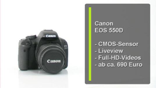 Canons Einsteiger DSLR EOS 550D überzeugt durch eine robuste Verarbeitung und durch die Qualität ihrer Fotos und Videoaufzeichnung. Der eingebaute CMOS Sensor nimmt Fotos mit einer Auflösung von 18 Megapixeln und Videos in Full-HD Auflösung auf.