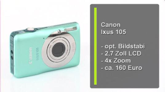 Die optisch ansprechende Digitalkamera Canon Ixus 105 ist gut verarbeitet. Ich Bildqualität liegt wie ihr Preis im Mittelfeld.