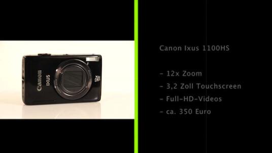 Die Canon Ixus 1100 HS verfügt über ein Objektiv mit 12-fachem Zoom und einen optischen Bildstabilisator. Die Bedienung erfolgt fast komplett über einen Touchscreen.