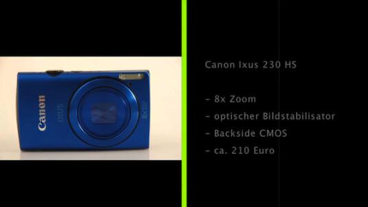 Bei der Canon Ixus 230 HS handelt es sich um eine Kompaktkamera mit achtfachen Zoom, optischen Bildstabilisator und einen drei Zoll großen Bildschirm.