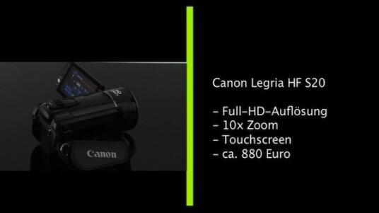 Full-HD-Camcorder mit zehnfachem Zoom und optischen Bildstabilisator: Der Legria HF S20 gehört zu den Spitzenmodellen unter den Camcordern, die Canon für normale Verbraucher anbietet. Die Bedienung der Videokamera erfolgt über einen Touchscreen und die Speicherkapazität erweitert der Nutzer mit zwei SD(HC)-Karten.