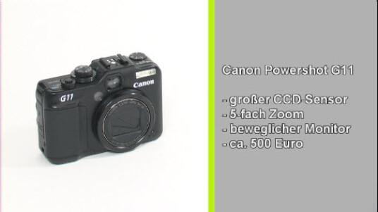 Es kommt nicht auf die Pixelanzahl an, das beweist Canon mit der Powershot G11. Mit einer Auflösung von zehn Megapixeln überzeugt die Kamera durch gute Bildqualität und solider Verarbeitung. Mit 500 Euro ist die G11 jedoch in der Oberklasse der digitalen Kompaktkameras zu finden.