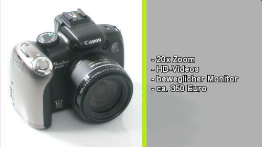 20-faches Zoom-Objektiv, eine Brennweite bis 560 Millimeter und Videoaufnahme in HD-Auflösung mit 1.280 x 720 Pixeln. Die Powershot SX20 IS ist eine Bridgekamera den Videoqualität höher ausfällt als die Bidlqualität, trotz 12 Megapixel.