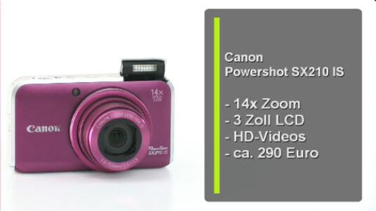 Obwohl sich 14,1 Megapixel auf dem kleinen Bildsensor drängeln überzeugt die Canon Powerhsot SX210 IS mit ihrer guten Bildqualität. Dank 14-fachem Zoom und einer manuellen Steuerung punktet die Kompaktkamera aber auch mit ihrer umfangreichen Ausstattung.