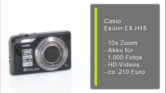 Die Digitalkamera von Casio ist der perkfekte Begleiter für unterwegs. Die Exilim EX H-15 verfügt über einen extrem langlebigen Akku und einen zehnfachen Zoom. Darüber hinaus liefert die Kamera eine gute Bildqualität und nimmt Fotos mit einer Auflösung von 14,1 Megapixeln auf.