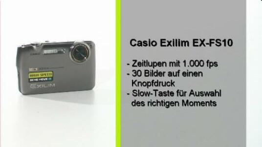 Mit der Casio Exilim EX-FS10 nimmt der Nutzer 1000 Bilder pro Sekunde. Wer also viele Zeitlupen-Aufnahmen und auch sonst eine gute Ausstatung wünscht kann getrost zu der Casio greifen.