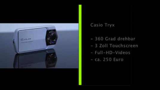 Diese Kamera hat den Dreh raus. Die Casio Exilim EX-TR100 erregt mit ihrer neuartigen Konstruktion für Aufsehen. Der Nutzer kann die Tryx durch ihre