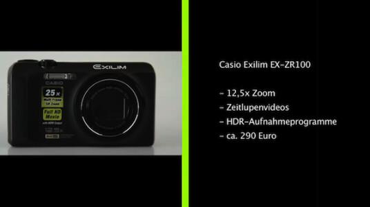 Die Casio Exilim EX-ZR100 bietet sich für Fotografen an, die mehr als nur Schnappschüsse mit ihrer Kompaktkamera aufnehmen wollen: 12,5-facher Zoom, manuelle Belichtung, HDR-Automatik und Full-HD-Videos.