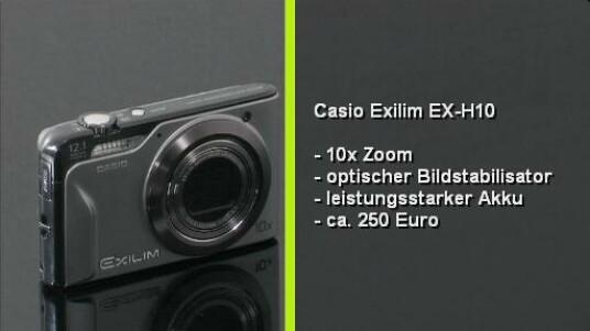 Die Casio Exilim EX-H10 bietet einen 10fachen Zoom, einen optischen Bildstabilisator und einen leistungsstarken Akku. Die Umfangreiche Ausstattung rechtfertigt den Preis von rund 250 Euro.
