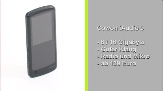 Der Cowon iAudio 9 überzeugt durch einen sehr guten Klang und seiner Formatvielfalt. Extras wie Radio, Mikrofon und Video-Wiedergabe erweitern das Funktionsangebot, schlagen sich aber auch im Preis nieder.