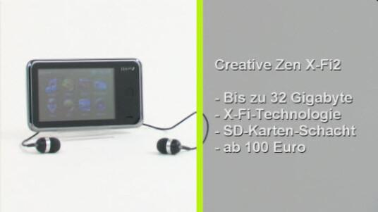 Der MP3-Playersoll mit der von soundkarten bekannten X-Fi-Technologie einen guten und klaren Klang liefern. Trotzdem bedarf es einigen Einstellungen und den optimalen Sound zu erreichen. Mit einem Preis ab 90 Euro fällt der über einen Touchscreen zu bedienende Creative Zen X-Fi 2 sehr günstig aus.