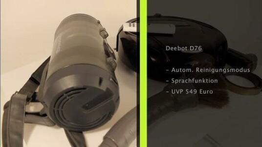Der Deebot D76 ist ein Staubsauger-Roboter von Vort Robotics. Das Modell kommt im Vergleich zu anderen Modellen mit einigen Extras daher wie beispielsweise einer selbstreinigenden Basisstation und zusätzlichem Putzzubehör. Darüber hinaus kann der Roboter sprechen.