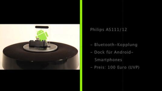 Philips setzt auf den Android-Lifestyle und bietet mit dem AS 111/12 eine Dockingstation extra für Smartphones mit dem Google-Betriebssystem an. Dank des flexiblen Anschlusses soll sich das System an verschiedene Telefone anpassen. Im Test erweis sich die Halterung aber als sperrig.
